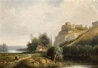 vue de château gaillard, les andelys by francois antoine leon fleury