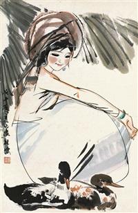 少女双鸭 镜片 纸本 by lin yong