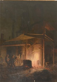labourers at a smelting works by william brassey hole