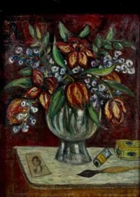 still life with tulips (landscape, verso) by pranas domsaitis