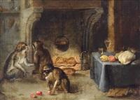 drei affen vor einem kamin bei der vorbereitung einer mahlzeit by abraham teniers