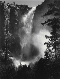 bridalveil fall, yosemite national park, 1927 by ansel adams