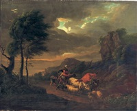 an italianate landscape with a peasant family in a thunder storm by franciscus xavery
