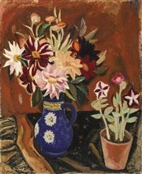 fleurs dans un vase bleu by gustave de smet