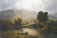 a view of keswick, in the lake district, cumberland by john glover