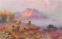sheep in a mountainous landscape by sidney pike