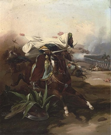 an arab cavalry charge a pot shot on the retreat pair by victor jean adam