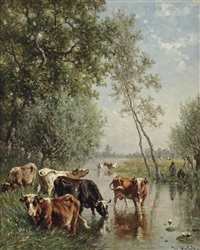 watering cows near the river gein, abcoude by willem roelofs