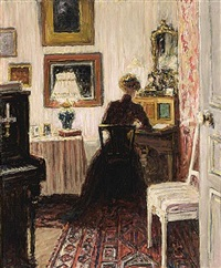 an elegant lady in a parisian interior (+ 1 other; 2 works) by carel nicolaas storm van 's-gravensande