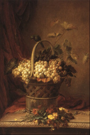 still life with grapes in a basket by jean baptiste joannes cornillon