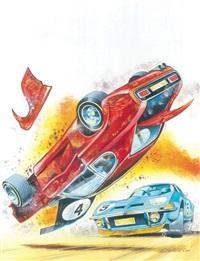 très belle illustration dans l'esprit de la série alain chevalier avec une scène de course de voitures se terminant dans un terrible accident by christian denayer