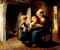 the knitting lesson by cornelius christiaan zwaan