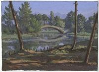paesaggio fluviale con ponte by pietro d' achiardi