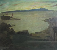 coastal view with fishing boats by josephine haswell miller