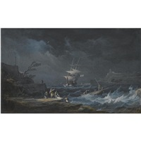 a shipwreck at nighttime off a rocky mediterranean coast by alexandre jean noel