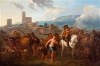 italianiserend landschap met ruiters, herders en vee by nicolaes berchem