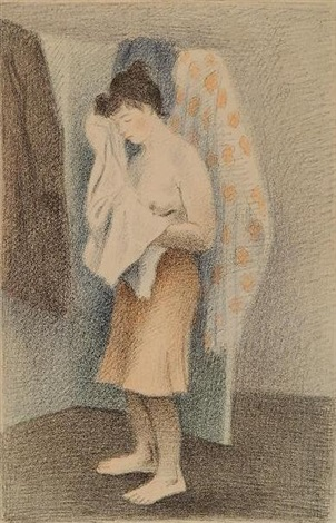 young woman drying herself by raphael soyer