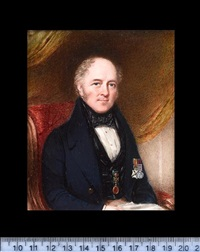 a gentleman (henry john allen esq ?) seated in a red upholstered chair, wearing blue coat, black velvet waistcoat, white chemise and black stock by william john (sir) newton