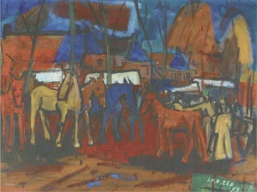 horse market in zuidlaren by jan van der zee