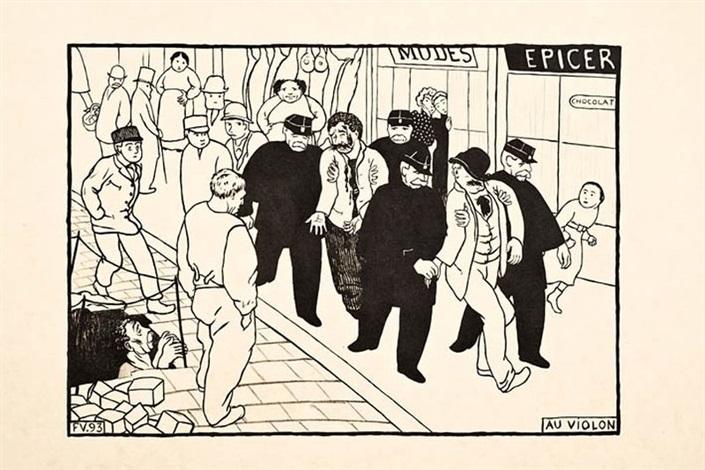 paris intense frontispice les chanteurs au violon et deuxième bureau 4 works by félix edouard vallotton