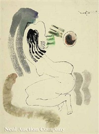 kneeling nude (+ woman and child; 2 works) by bui ngoc tu