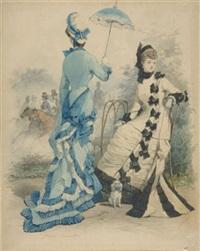 zwei elegante damen im bois de boulogne by jules david