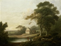 figures fishing in a river landscape, a farmhouse beyond by john rathbone