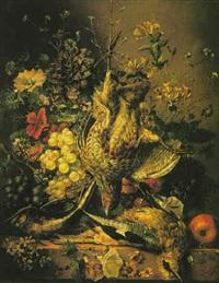 nature morte à la perdrix grise, raisins et fleurs sur un entablement by arnoldus bloemers