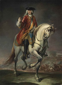 equestrian portrait of field marshal count johann matthias von der schulenburg, full-length, in a red coat and a breastplate, on a grey mare, before a siege by francesco simonini and giuseppe nogari