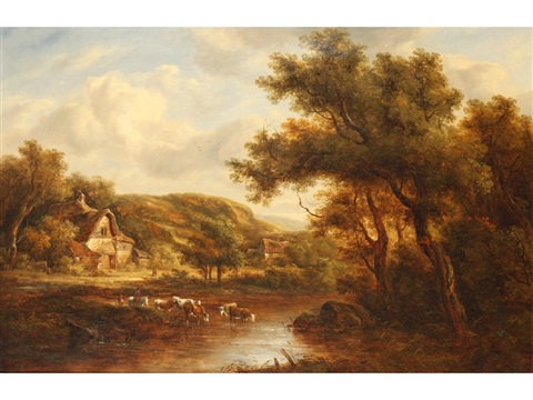 cattle watering beside a cottage in a wooded landscape by richard h hilder