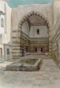 the courtyard of maison st. jean in damascus by willem de famars testas