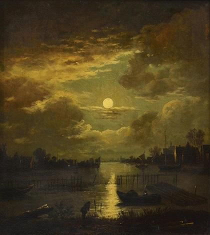 paysage fluvial sous la pleine lune avec homme sur les berges et personnage dans une barque by aert van der neer