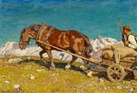 bauer mit pferdekarren im hochgebirge by julius paul junghanns