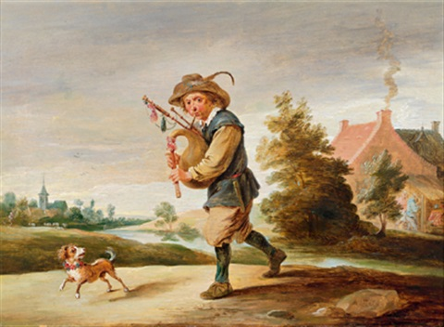 ein dudelsackpfeifer mit seinem hund in einer landschaft by abraham teniers