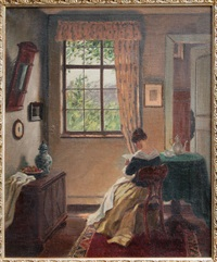 interieur mit lesender frau by hugo krings