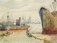 the harbour in hamburg by wilhelm battermann