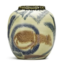 decorated mat vase with animals by louise abel
