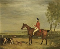 a huntsman on a bay hunter with hounds and a terrier in an extensive landscape by francis calcraft turner