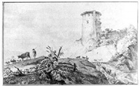 an italianate landscape with a ruined tower on a hill by hendrik hoogers