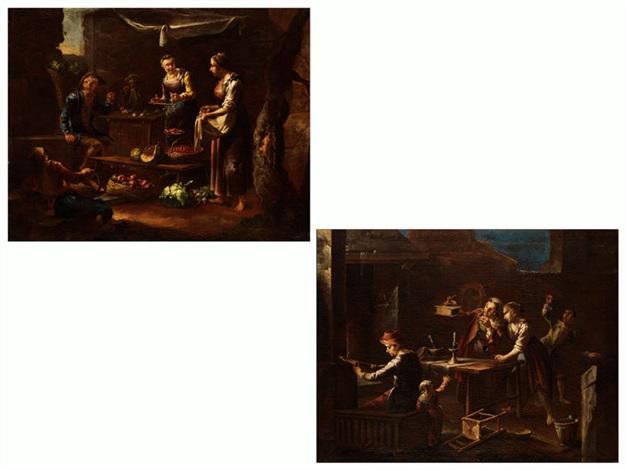 verkaufsstand mit obstverkäuferin und figurenstaffage kücheninterieur mit figurenstaffage und einem lautenspieler pair by giacomo francesco cipper