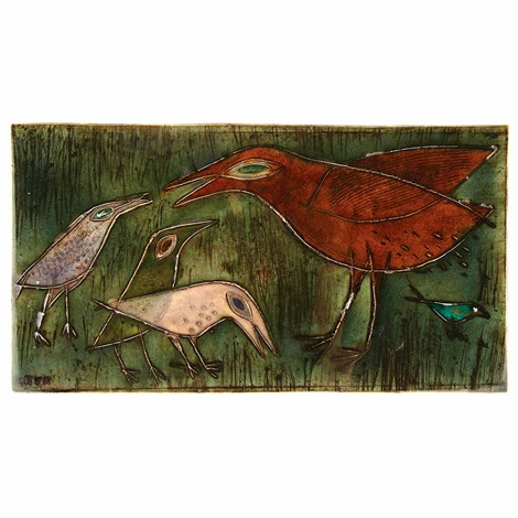 mother bird and young tile by rut bryk