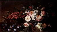 a still life of strawberries, plums and a bouquet of flowers tied with a red ribbon by benito espinos