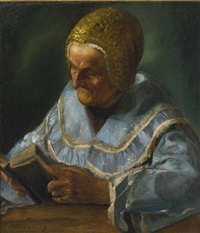 portrait of a woman wearing a sabbath cap (kupka) by moritz gottlieb