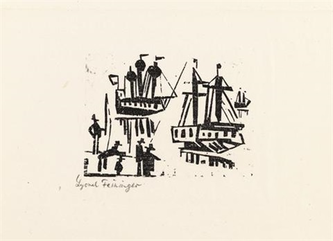 angler und schiffe pl8 from ten woodcuts by lyonel feininger by lyonel feininger