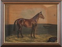 bay thoroughbred in a stable by g. a. cattley