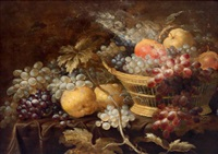 stillleben mit weintrauben, birnen und einem apfel by roelof koets the elder