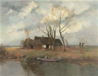 fishing near a farmhouse by johan hendrik kaemmerer