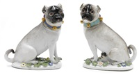 pug dogs (pair) by johann joachim kändler and peter reinicke