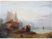 fisherfolk and boats on a coastline by john wilson ewbank