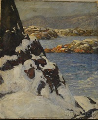 rocky coast in winter by marion p. howard